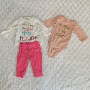Girls long sleeve top and pants set and onesie